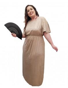 Vestido fiesta plus size Grecia beige