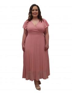 Vestido fiesta rosa empolvado