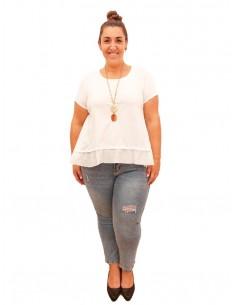 Camiseta volante blanca