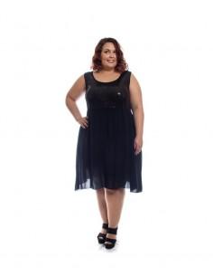 Vestido tallas grandes negro pailletes