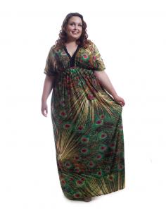 Vestido largo tonos verdes