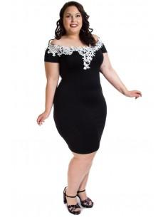 Vestido negro encaje blanco