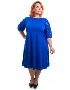 Vestido manga encaje azul