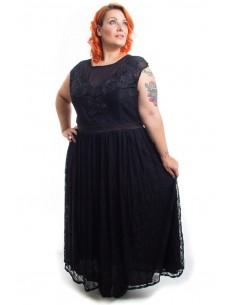 Vestido ceremonia negro plisado