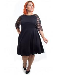 Vestido negro manga encaje