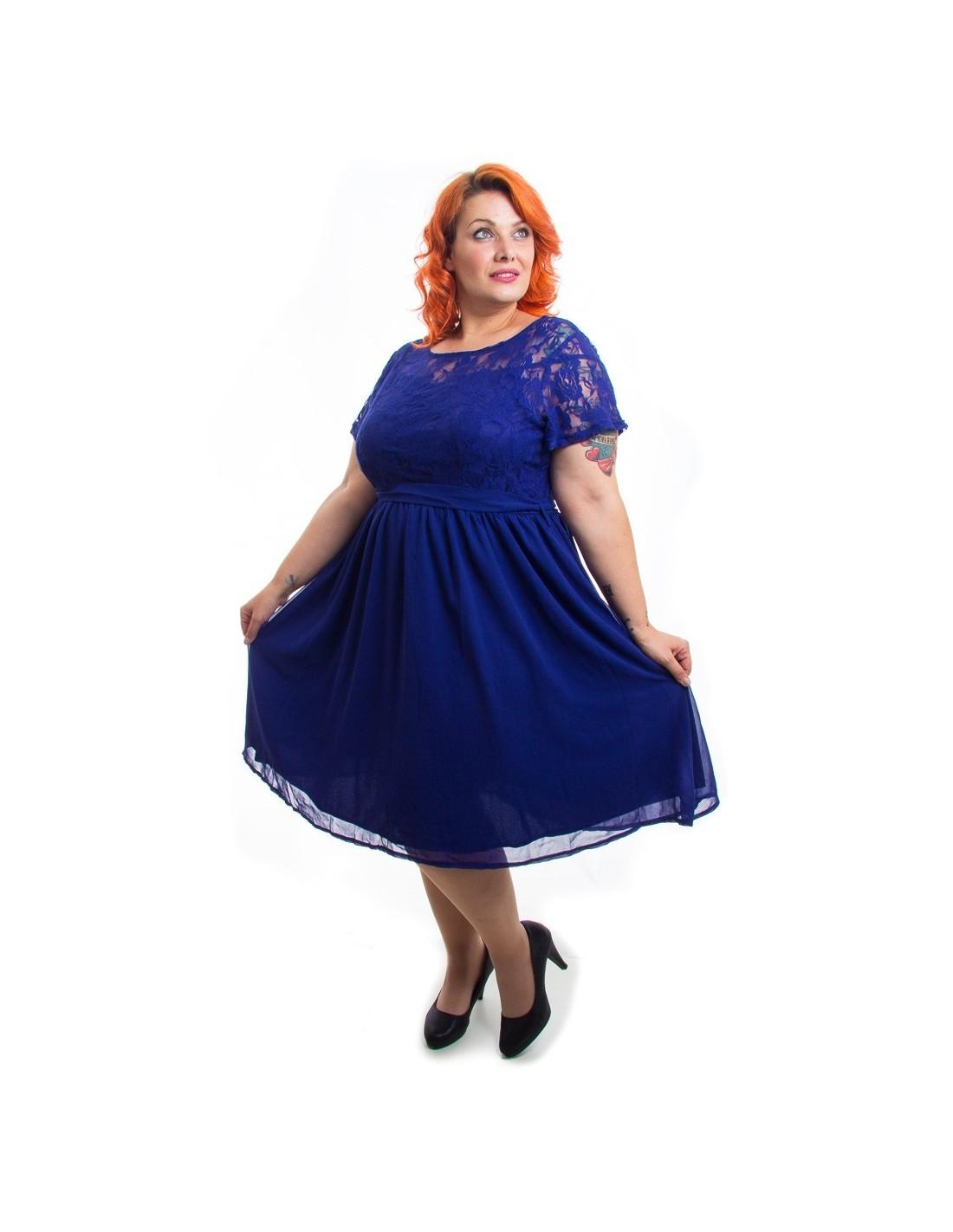 Comprar Vestido De Fiesta Azul En Talla Grande Online Zadeshop