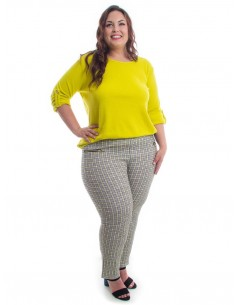 Pantalón cuadros tonos amarillos