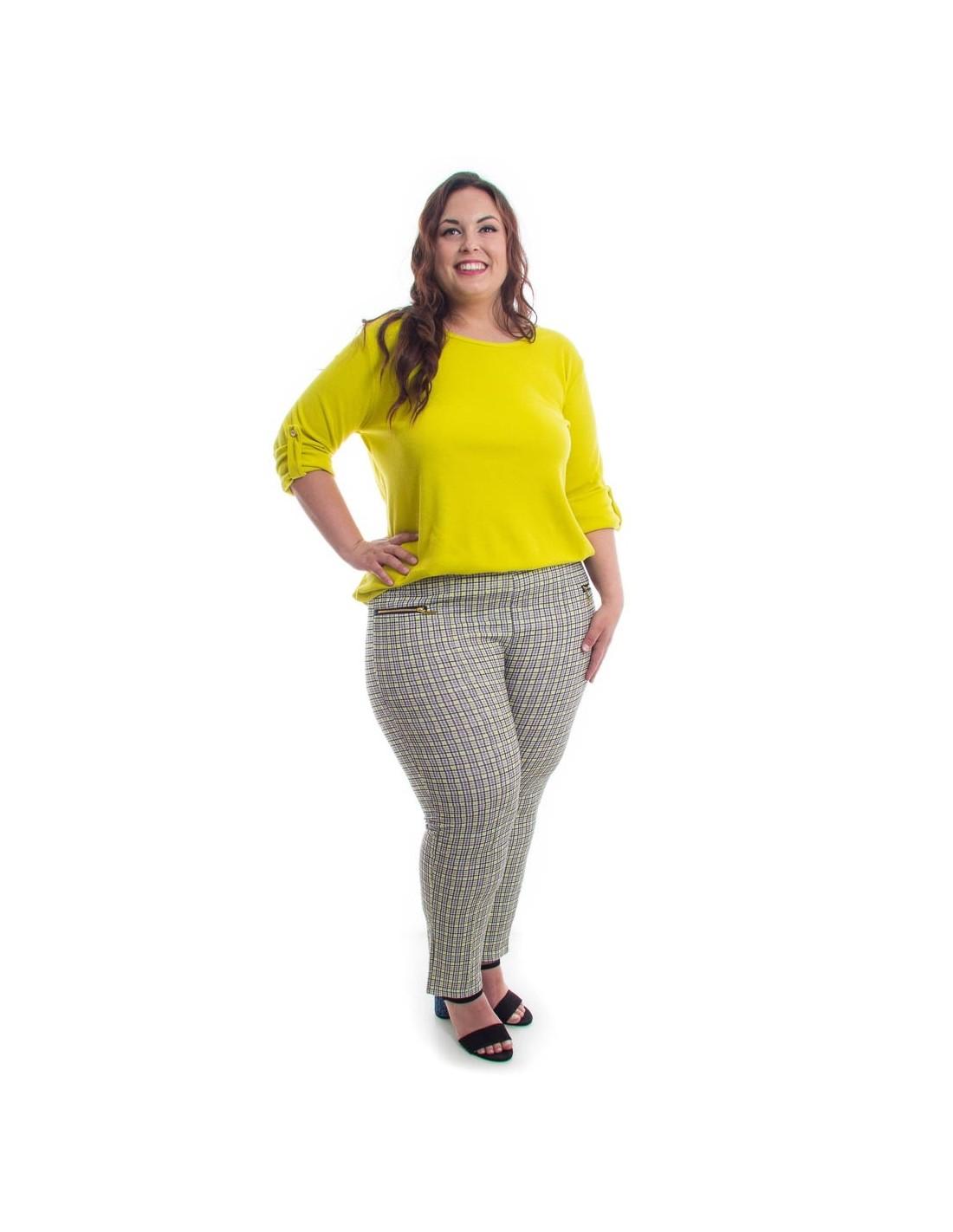 Comprar Pantalon A Cuadros En Tonos Amarillos Online Zadeshop