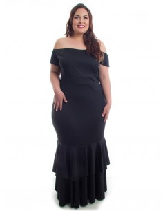 Vestido plus size sirena negro