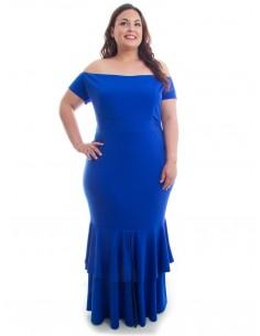 Vestido fiesta plus size sirena azul