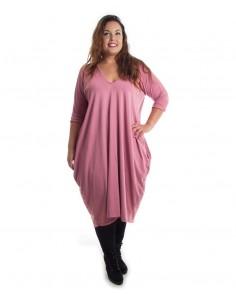 Vestido plus size pico rosa