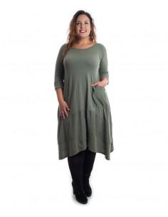 Vestido tallas grandes algodón verde