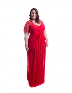 Vestido tallas grandes ceremonia rojo