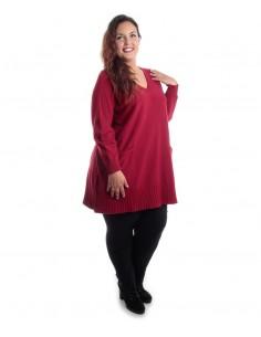 Jersey plus size rojo bolsillos