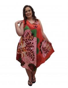 Vestido tirante flor naranja