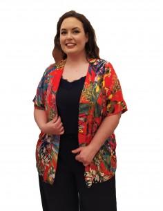 Kimono estampado rojo