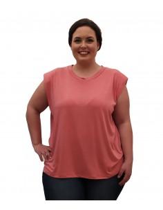 Camiseta hombreras rosa