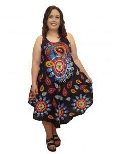 Vestido multicolor fondo negro