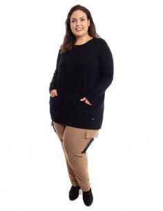 Jersey plus size negro bolsillos