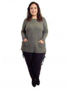 Jersey plus size verde grisáceo bolsillos