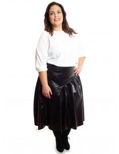 Falda símil piel negra